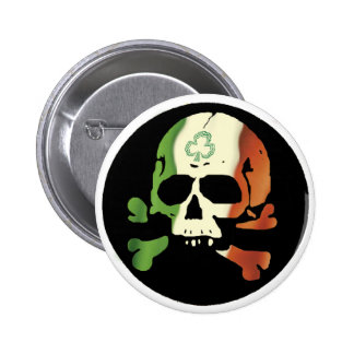 Irish flag skull 2 inch round button