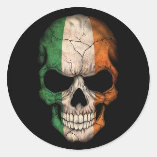Irish Flag Skull on Black Classic Round Sticker