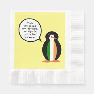 Irish Flag Talking Penguin Disposable Napkin