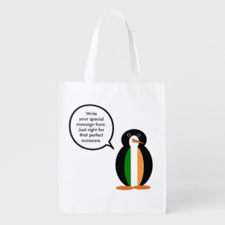 Irish Flag Talking Penguin Market Totes