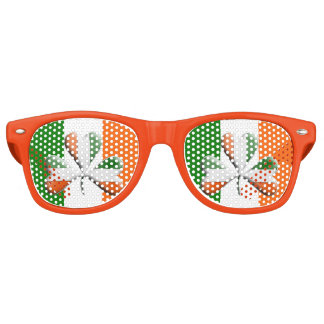 Irish Flag Tri Colors Themed Shamrock Retro Sunglasses