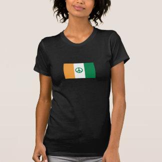 Irish Flag w/ Peace Sign ladies tee-shirt T-Shirt