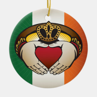 Irish Flag with Claddagh Ring Ceramic Ornament
