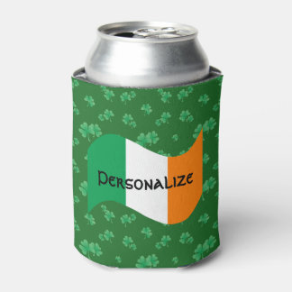 Irish Flag with Shamrocks Can Cooler