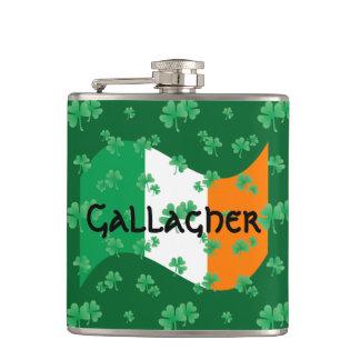 Irish Flag with Shamrocks Hip Flask