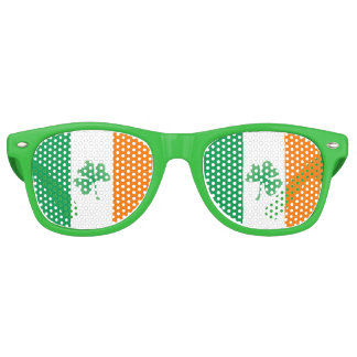 Irish Flag with Shamrocks Retro Sunglasses