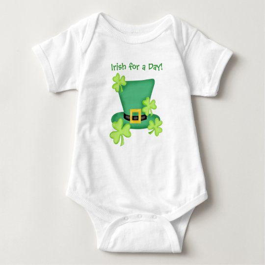 Irish for a Day St. Patrick's Day Shamrock Baby Bodysuit