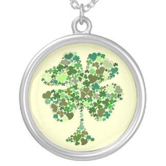 Irish Four Leaf Clover Sterling Silver Necklace