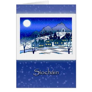 Irish Gaelic Christmas, Síocháin, Snowy Village Card