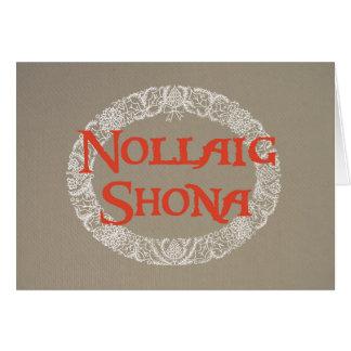 Irish Gaelic Christmas Wreath White Red on Burlap Card