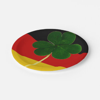 Irish German Flag Shamrock Clover St. Patrick Fun 7 Inch Paper Plate