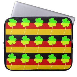 Irish German Flag Shamrock Clover St. Patrick Fun Laptop Sleeve