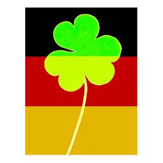 Irish German Flag Shamrock Clover St. Patrick Fun Postcard