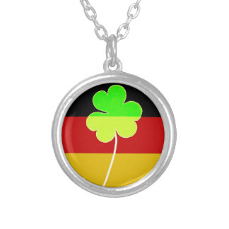 Irish German Flag Shamrock Clover St. Patrick Fun Silver Plated Necklace