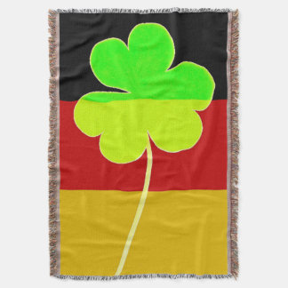 Irish German Flag Shamrock Clover St. Patrick Fun Throw Blanket