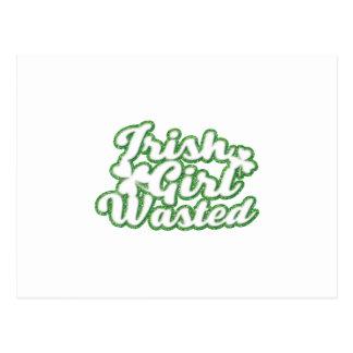 Irish Girl Wasted St Patricks Day Postcard