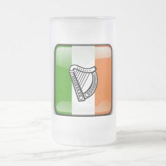 Irish glossy flag frosted glass beer mug