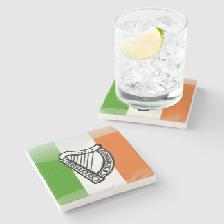 Irish glossy flag stone coaster