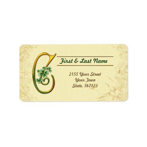 Irish Gold Monogram C Label Address Label