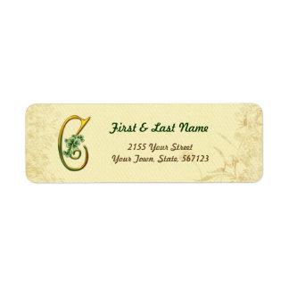Irish Gold Monogram C Label Return Address Label