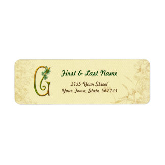 Irish Gold Monogram G Label Return Address Label