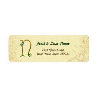 Irish Gold Monogram N Label Return Address Label