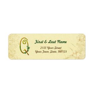 Irish Gold Monogram Q Label Return Address Label