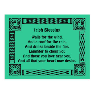 irish good luck blessing postcard