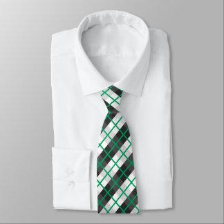 Irish Green and Black and White Plaid Pattern Tie