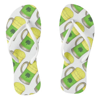 Irish Green Beer Mug St. Paddy's Day Flip Flops