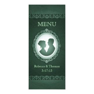 Irish Green Cameo Wedding Menu Cards
