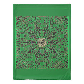 irish Green Celtic Triskele Mandala Duvet Cover