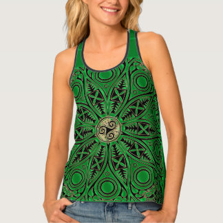 Irish Green Celtic Triskele Mandala Tank Top