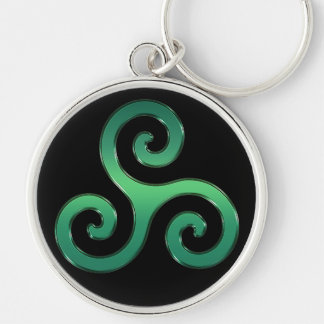 Irish Green Celtic Triskelion Keychain