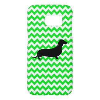 Irish Green Chevron with Dachshund Samsung Galaxy S7 Case