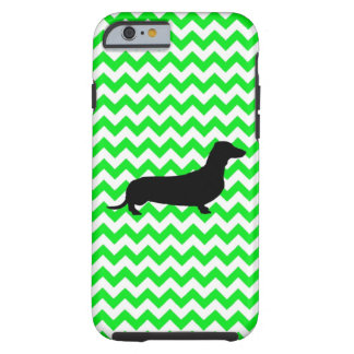 Irish Green Chevron with Dachshund Tough iPhone 6 Case