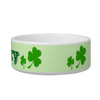 Irish green clover lucky shamrock pet bowl
