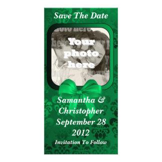 Irish green damask save the date wedding photo card