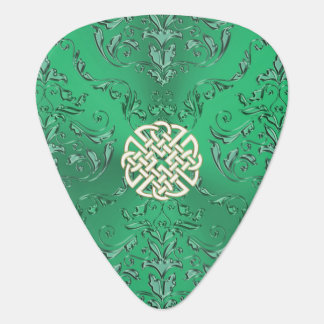 Irish Green Damask With White Gold  Celtic Knot Guitar Pick
