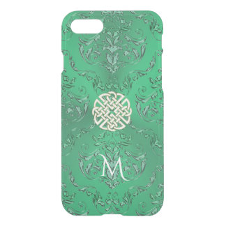 Irish Green Damask With White Gold  Celtic Knot iPhone 8/7 Case