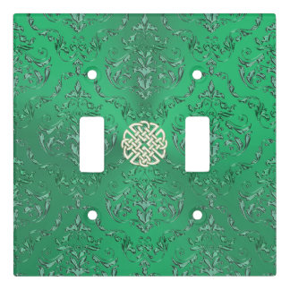 Irish Green Damask With White Gold  Celtic Knot Light Switch Cover