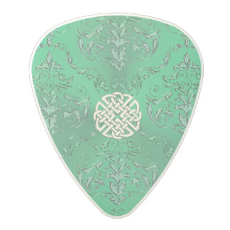 Irish Green Damask With White Gold  Celtic Knot Polycarbonate Guitar Pick