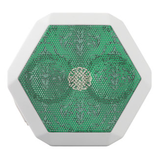 Irish Green Damask With White Gold  Celtic Knot White Bluetooth Speaker