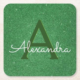 Irish Green Glitter & Sparkle Monogram Square Paper Coaster