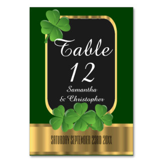 Irish green, gold and shamrock wedding card