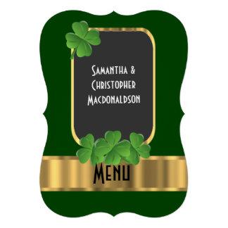 "Irish green, gold and shamrock wedding menu 5"" x 7"" invitation card"