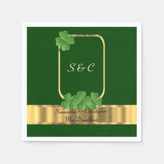 Irish green, gold and shamrock wedding paper napkin