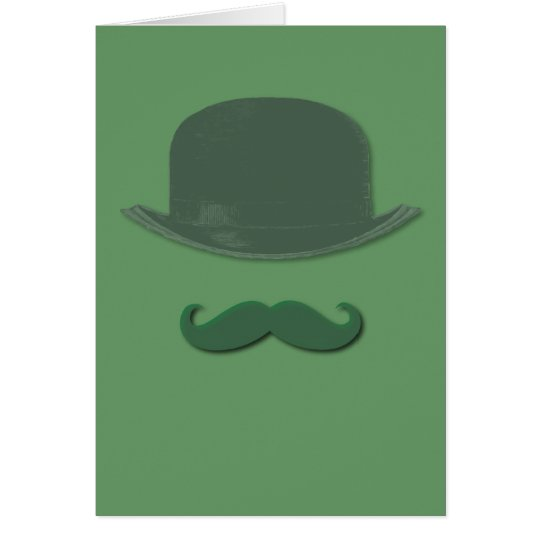 Irish Green Moustache and Derby Hat Card