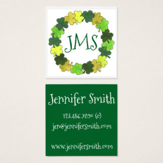 Irish Green Shamrock Clover Luck St. Patrick's Day Square Business Card
