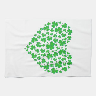 Irish Green Shamrock Heart Kitchen Towel